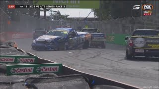 Australian V8 Ute Racing Series 2017. Race 3 Surfers Paradise Street Circuit. Pile Up