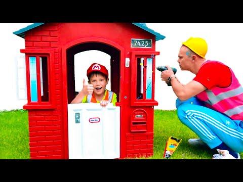 max-y-katy-ayudan-a-papá-a-limpiar-casas-de-juegos
