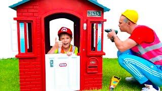 Max y Katy ayudan a papá a limpiar casas de juegos