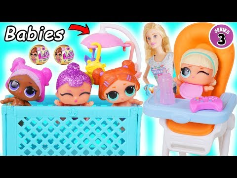 LOL Surprise Dolls Lil Sisters visit Barbie Skipper Babysitter