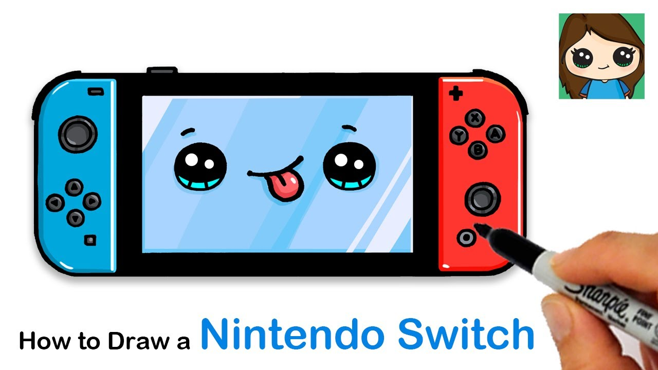 How To Draw A Nintendo Switch Video Game Console Youtube