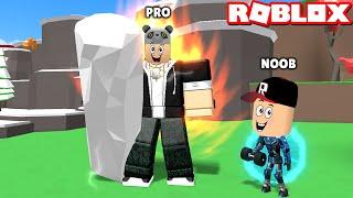 Üstümden Ateş Çıkıyor!! En Ağır Taşı Kaldırdım - Panda ile Roblox Fitness Simulator