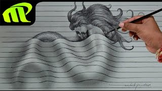 Drawing a Sleeping Mermaid - 3D Paper Illusion | Trick Art