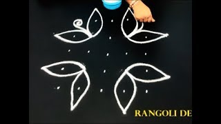 5X5 dots flower kolam designs - easy rangoli designs with dots - simple muggulu designs