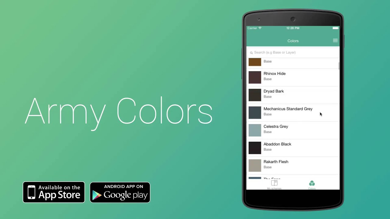 army colors - warhammer and miniatures paining app - android app