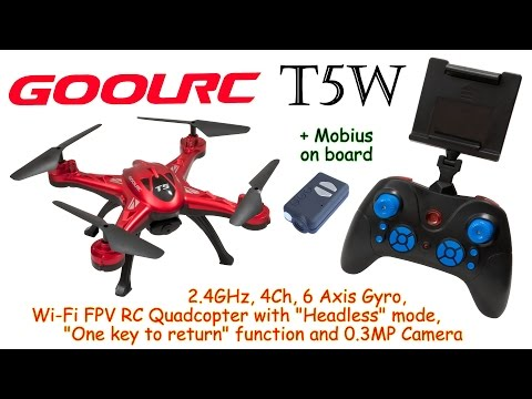 GoolRC T5W 2.4GHz, 4Ch, 6 Axis, Wi-Fi FPV RC Quadcopter with Headless mode and 0.3MP Camera (RTF)