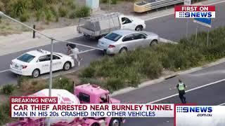 A fugitive car thief  arrested near Burnley tunel