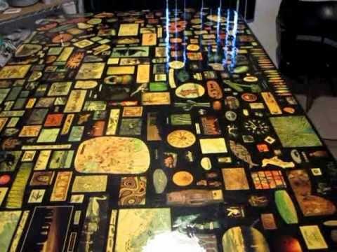 Decoupage Table Dining Bar Stool Gameroom Piece Art 4 X8