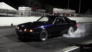 Turbocharged Mustang Fox Body  - 9.60 @ 146 mph -  Drag Race Video - Road Test TV ®