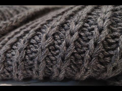 Шарф спицами вытянутыми петлями. Мужской шарф спицами