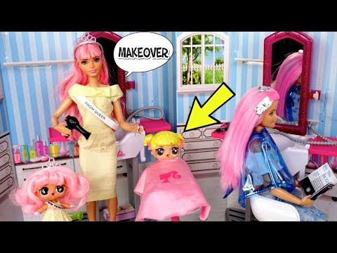Barbie LOL Prom Princess Family Morning Routine - Baby Goldie Gets a Makeover
