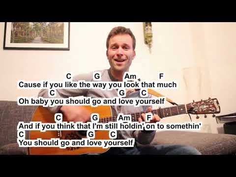 Justin Bieber love yourself  (Cover) small easy Guitar Lesson Tutorial (How to play) lyrics & chords