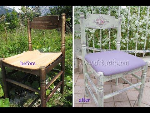 Chalk paint distress Shabby chic chair tutorial. Furniture refinishing DIY