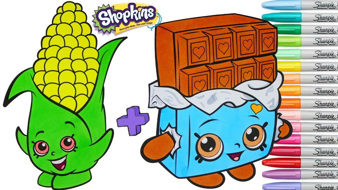 shopkins coloring book pages corny cob cheeky chocolate season 1 2 rainbow splash