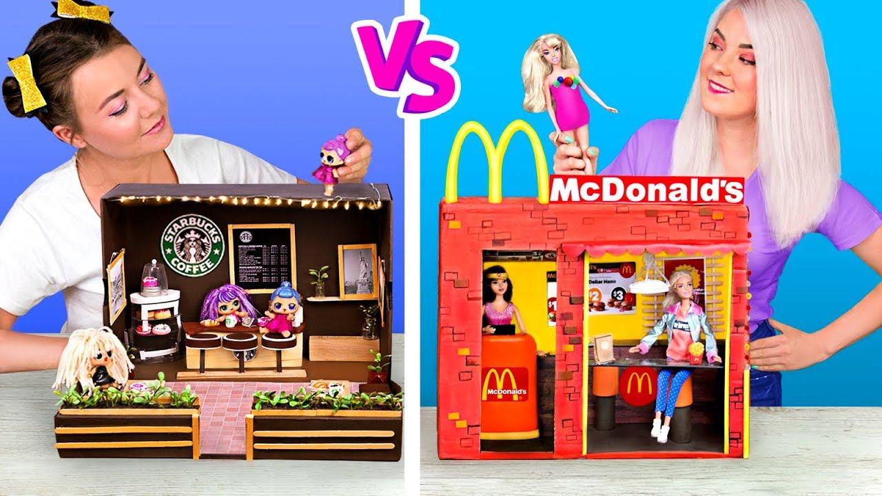 Барби против ЛОЛ Сюрприз! Макдональдс и Старбакс для кукол!