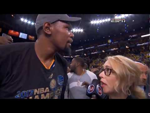 Kevin Durant & Mom Wanda real finals mvp postgame interview/speech (2017)
