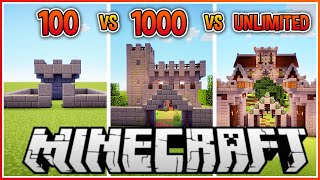 100 vs 1000 vs Unlimited Block Minecraft Castle!