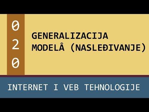 Praktikum - Internet i veb tehnologije - vežbe - 020 - Generalizacija modelâ