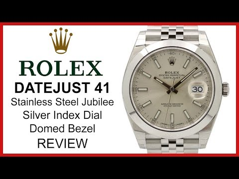 Rolex DATEJUST 41: stainless steel, silver index Dial, smooth domed Bezel, Jubilee - REVIEW 126300
