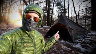 The Best Tarp Seтup EVER?! | Winter Camping Overnighter With A Square Tarp
