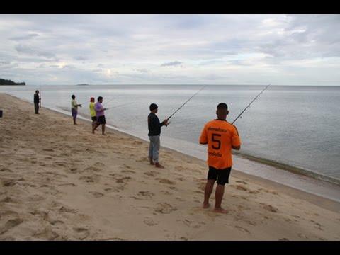 เย่อกับปลาท้องทะเลบ้านกรูด ฝีมือตกปลาทรายฉมังมาก