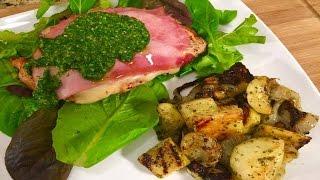 Grilled Cordon Bleu With Parsley Pesto Squash