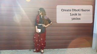 Dhoti Saree Look| 5 mins Modern Saree Draping