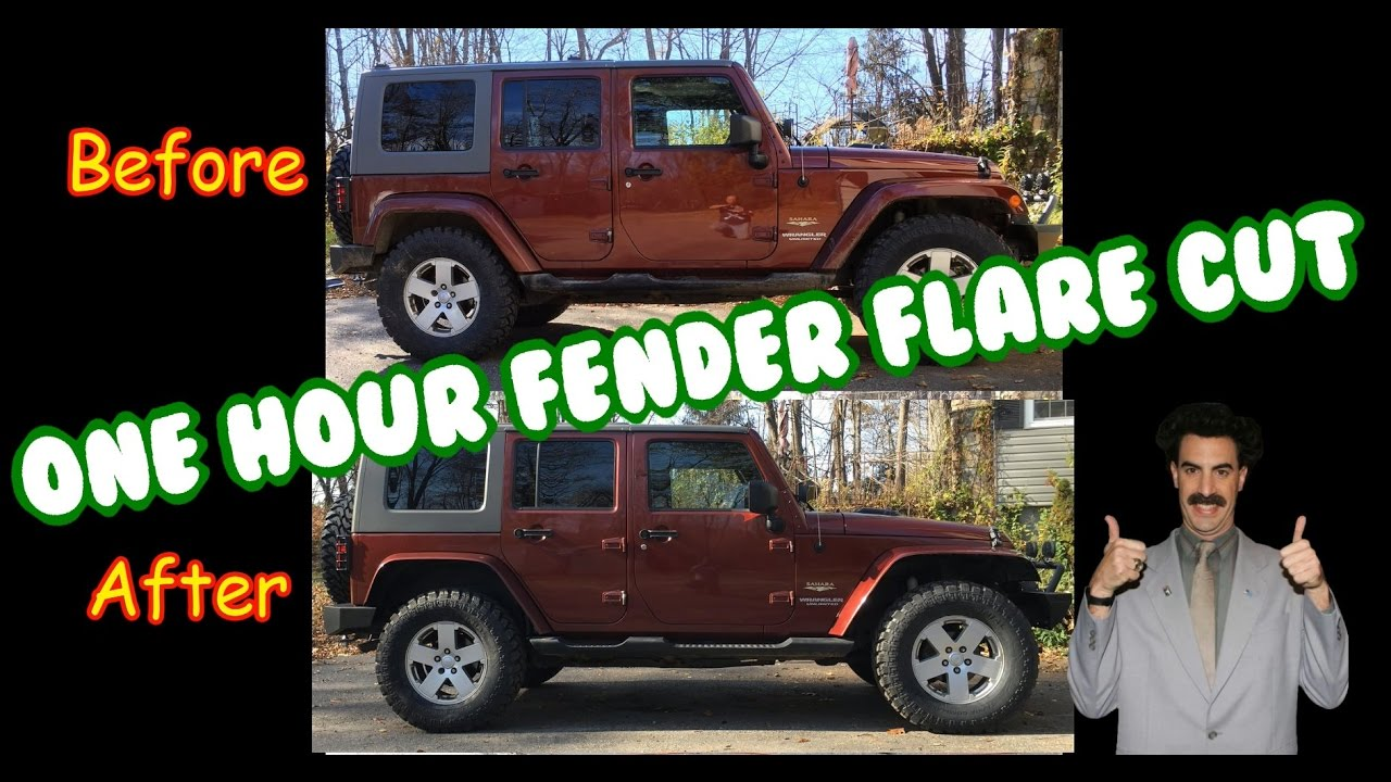 Jeep Wrangler Jk Jku 1 Hour Zero Dollar Flat Fender Flare Cut Mod Youtube