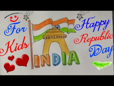 How To Draw Republic Day Drawing For Kids Step By Step Happy
