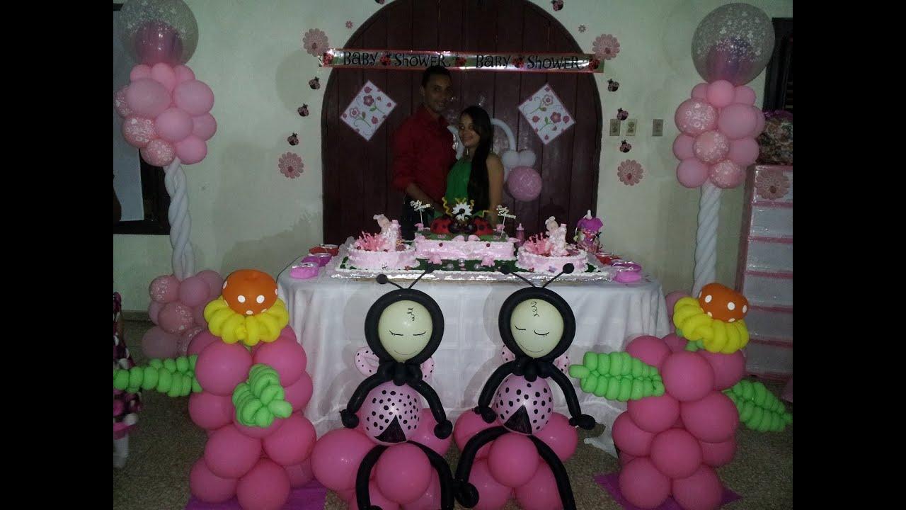 Decoracion Baby Shower Nayelin y Nayeli  motivo mariquita o lady bug  YouTube