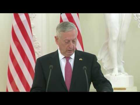 ✅ Sec. Def. General Mattis Speaks in Lithuania with Lithuanian President 5/10/17**