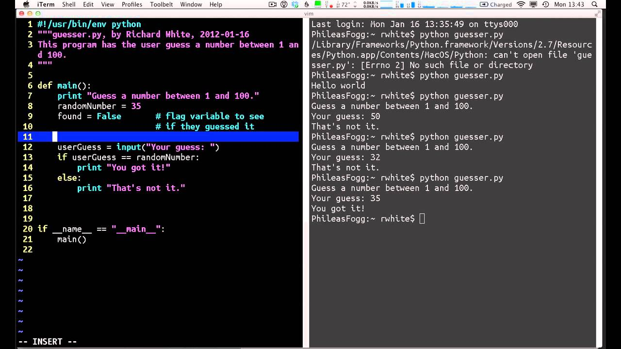 Writing a Python Program - Simple Workflow