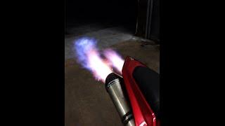 2007 Yamaha R1 shooting Flames