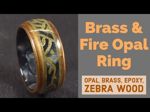Creating a Zebra Wood Ring with Bello Fire Opal and Brass Engraving