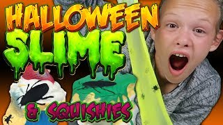 HALLOWEEN SLIME and HALLOWEEN SQUISHIES Spider Slime &amp Gross Squishies!