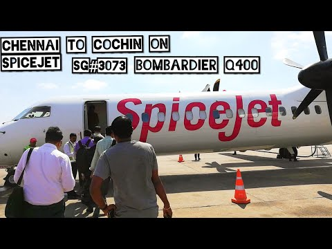 Chennai✈️Cochin Full Flight Journey SpiceJet Bombardier Q400