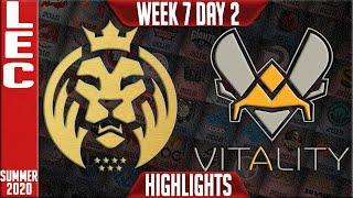 MAD vs VIT Highlights | LEC Summer 2020 W7D2 | MAD Lions vs Team Vitality