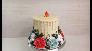 торт СВЕЧА Торт на Рождество торт на Новый Год Украшение белково заварным кремом CHRISTMAS CAKE