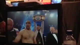 Garik holding WBO belt for King Arthur Abraham in Berlin