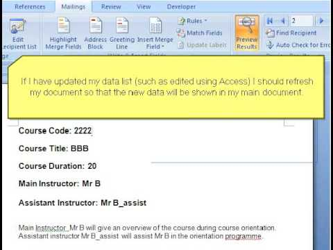 Create Document Template With Word Mail Merge Part 4 - Merging Main ...