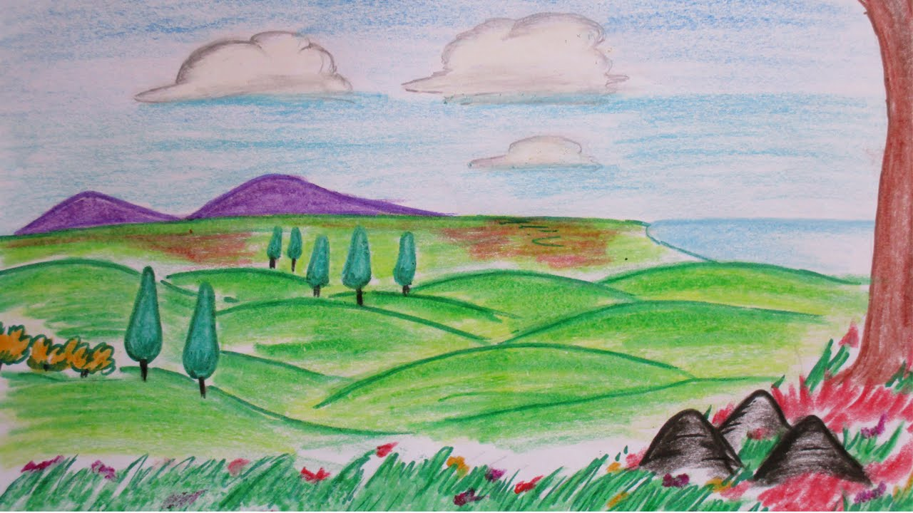 How to draw hillside from distance | A colorful landscape scene ...