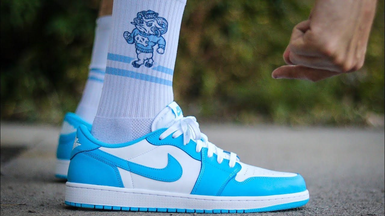 The Air Jordan 1 X Nike Sb Unc Low On Feet With Strideline