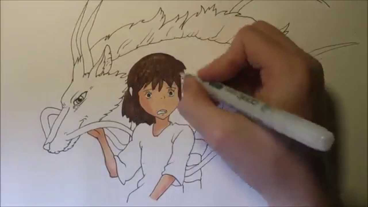 How To Draw Chihiro And Haku From Spirited Away Youtube