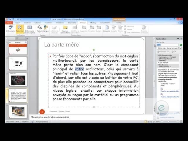 17 MS PowerPoint  : Onglet Révision : Vérification Et Langue