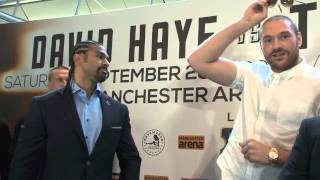 DAVID HAYE v TYSON FURY HEAD TO HEAD @ LONDON PRESS CONFERENCE / HAYE v FURY