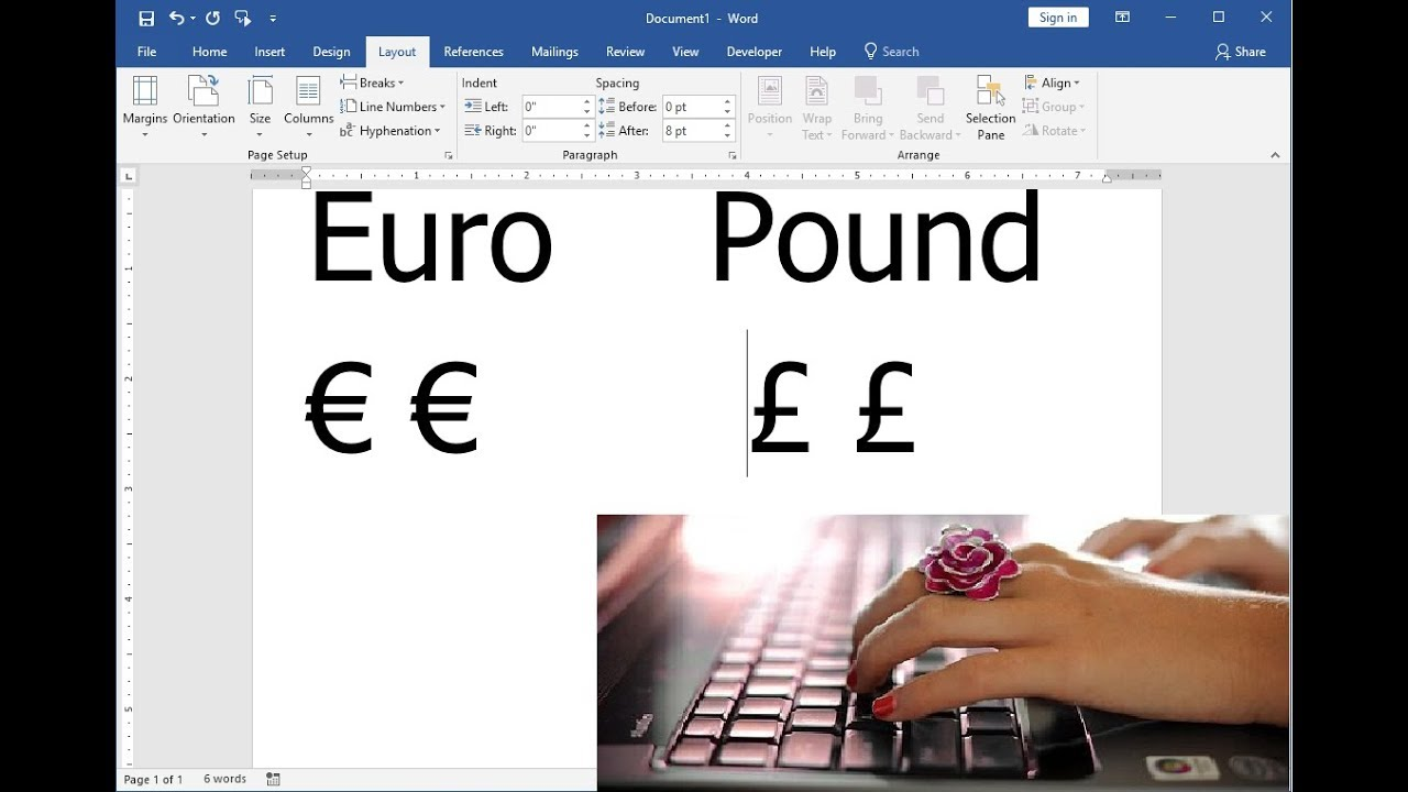 Easy Keyboard Shortcut Key To Insert Euro Pounds Symbols Youtube