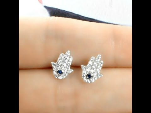 Sterling Silver Evil Eye Hamsa Earrings, Prjewel Factory Outlet