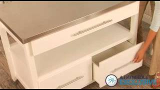 Concord Kitchen Island With Stools White - Product Review Video