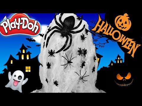 Huevo Sorpresa Gigante de Halloween Arañas de Plastilina Play doh en Español Tela de arañas