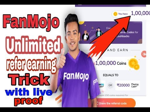 FanMojo Unlimited refer earning trick with live proof# fanmojo me unlimited refer keise kre